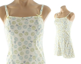 Vintage 60s Peace Sign Babydoll Nightgown Lingerie Light Blue Nylon Slip Dress Teddy 1960s Hippie Jennifer Dale Small S
