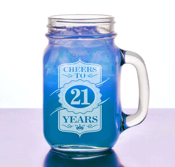 21st Birthday Gift For Her Him 16 Oz Mason Jar Cheers To 21