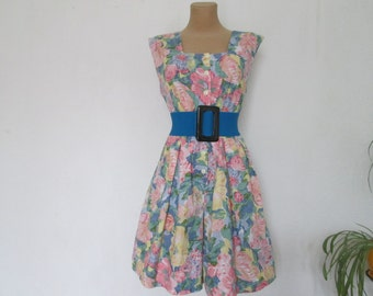 Pretty Romper / Playsuit Vintage / Cotton / Viscose / Buttoned / Size EUR 42 / UK14