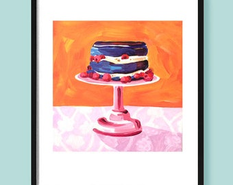 PRINT - Kitchen art, wall decor, food art, food art print, cake art, dining room art, dessert art, orange art, impressionist painting