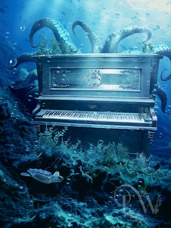 Under water ocean piano print