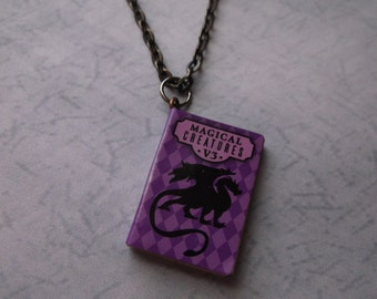 Magical Creatures Story Book Necklace Dragon Story Book Necklace Purple- For Book Lovers