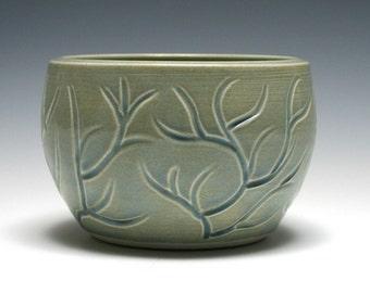 Petit bol avec des Branches taillées en bleu océan