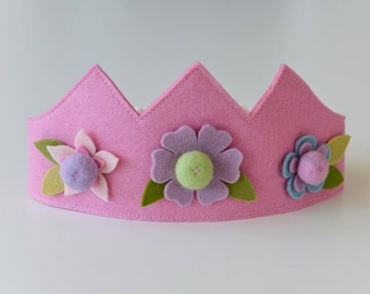Wool felt crown, Flower crown, Birthday crown, Fairy crown, Pink crown