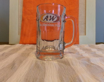 Vintage A & W Heavy Glass Root Beer Mug 1970s