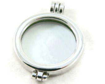 Silver Plated Photo Frame Locket with Glass Cabochons - Large Locket - Double Sided Pendant - Jewelry Supply - DIY Jewelry