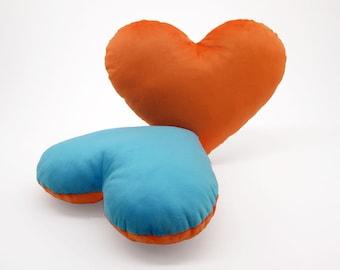 Orange and Light Blue Team Spirit Hug Heart Shaped Pillow 12x14 inches
