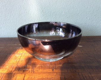 Vintage silver fade round bowl, Queen's lusterware salad bowl, dessert bowl, unique hard to find in this shape