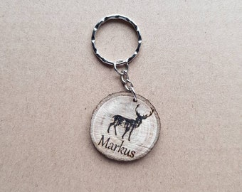 Key fob, wood, personalized, desired text, desired image