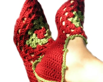 PDF crochet pattern - Babouches pointy slippers - elfin with granny square insert - Easy crochet with pictorial Instant dowload