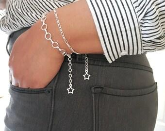 Dainty Silver Bracelet, Dainty Stacking Bracelet, Silver Figaro Bracelet, Delicate Stacking Bracelets, Silver Minimal Bracelet