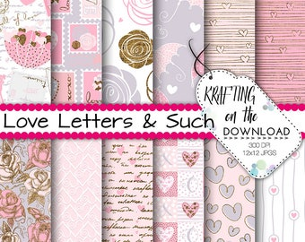 valentine paper pack romantic love paper pack stamps valentines paper hearts love digital paper pink rose digital paper gold accents
