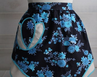 Vintage 1950s Navy and Turquoise Floral Half Apron / Vintage Apron