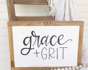 Grace and Grit sign, grace and grit, inspirational art, christian sign, hand painted sign, farmhouse wood sign, girls room