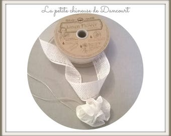 Linen Ribbon 30mm white color for flower making