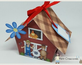 "PRINTABLE GIFT box ""The farm"" DIY, treat box, place holder, gift idea for party"