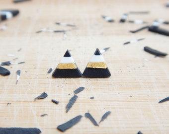 Triangular earrings-black gold and white triangle-geometric earrings, minimal