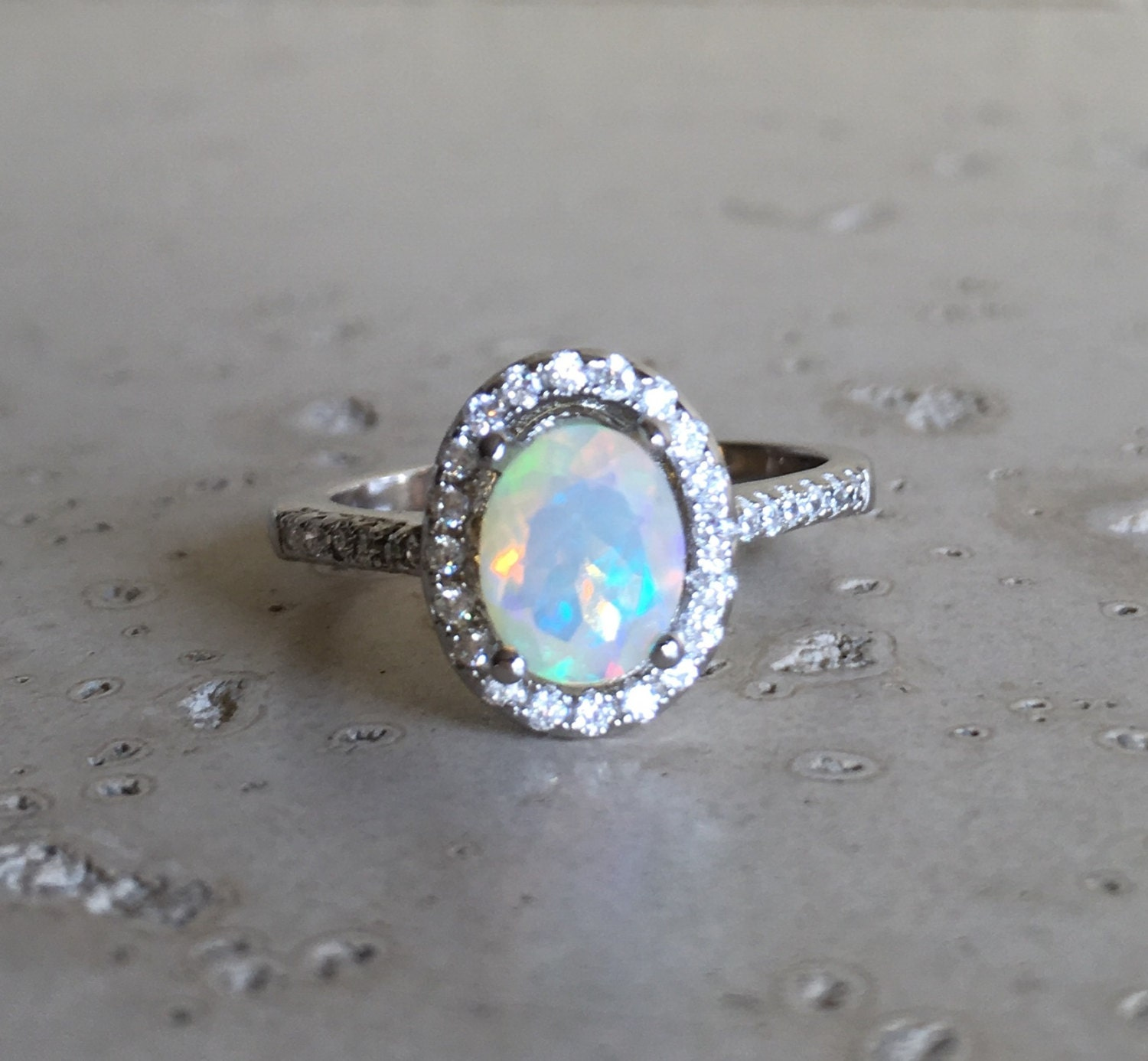 Opal Engagement Rings: Halo Opal Engagement Ring Natural Opal Promise Ring Oval