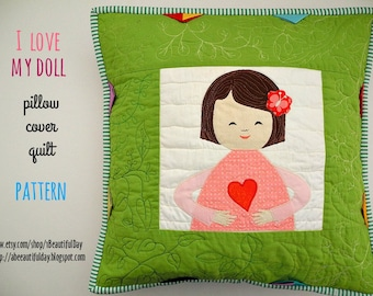 Doll quilt, raw edge applique quilt, pdf pattern, nursery pillow cover, girl room decor, two color prairie points