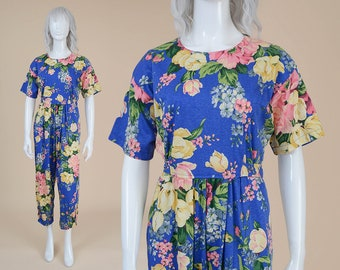 80s Floral Jumpsuit | size S M | Cotton Jersey Knit Romper Loose Oversize Pleated Pant Suit Onesie Blue Pink Yellow | Small Medium