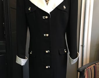 1970's Black and White Satin Trimmed Coat Dress by Nippon Boutique