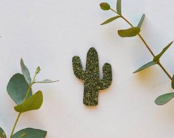 lovely khaki green glitter cactus brooch
