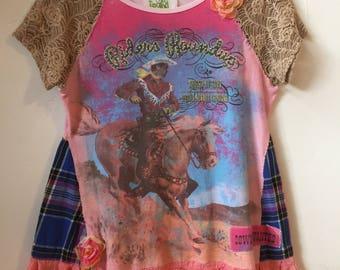repurposed embellished shirt size M