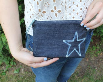 Bleached Star Upcycled Denim Zippered Bag / Pouch