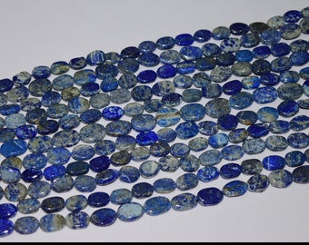 ME-0074 Gorgeous Denim Lapis Lazuli Oval Gemstone Beads 8x10-10x13mm 13 Inch 100% Genuine and Natural Stone