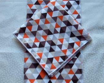 set of 2 handkerchiefs orange brown geometric patterns