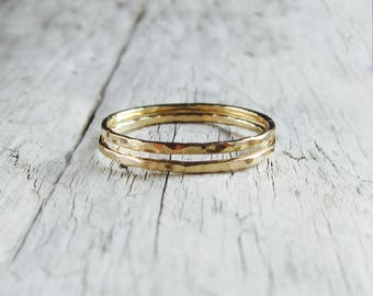Gold rings set. Skinny gold filled bands, hammered rings, stacking set of two. Minimal jewelry.