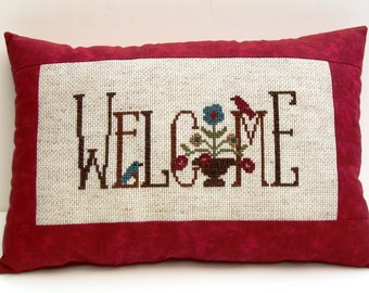 Completed cross stitch pillow, welcome pillow, rustic decor, home decor, spring / summer decoration