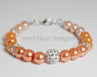 Coral and Peach Pearl Bracelet, Coral Ombre Pearl Bracelet, Peach Pearl Bracelet, Peach Ombre Pearl Bracelet, Coral & Peach Pearl Bracelet