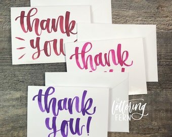 Hand Lettered Thank You Cards | Watercolor| A2 size