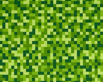 Green Tone on Tone Bitmap Pixels from Michael Miller Farbics