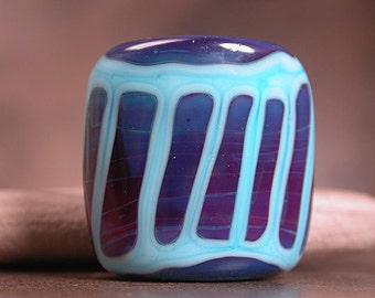 Artisan Glass Focal Bead, Lampwork Focals, Square Nugget Bead, Purple Lampwork, Blue, Divine Spark Designs, SRA