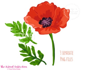 Red Poppy Clip Art, watercolor poppies, watercolor floral clipart, watercolor invitation art, red floral clipart, floral clip art, instant