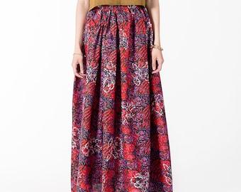 Women Sundress Fashion skirt maxi High waist Cotton Casual Summer Paints print colorful Eco Street Fashion SVETARKIN