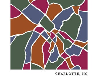 Colorful Charlotte Map