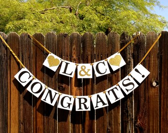 Engagement Banner, Congrats Banner, Engagement Party Decor, Rustic, Engagement Party Ideas, Wedding Reception, Couples Shower