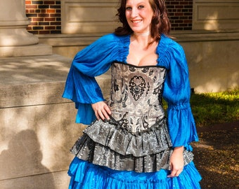 Silver with Black Corset, Victorian, Corset, Pirate, Steampunk, Renaissance Festival, Ren Fair, Faire, Costume, Cosplay, Wild West World