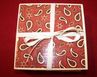 Western Bandana Ceramic Tile Coasters Set of 4