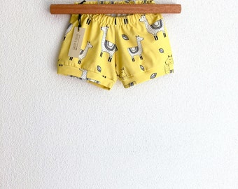 Organic llama kids shorts, llama baby shorties, baby beach shorts, toddler boy shorts, toddler girl shorts, girls summer clothes, llamas