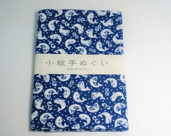 Japanese Hand towel Small Patern TENUGUI  'Kujira'-whale 33 x 90cm Cotton