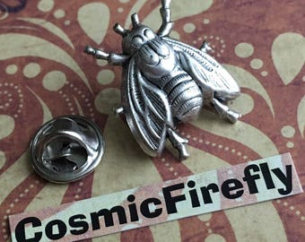 Silver Fly Tie Tack Silver Plated Insect Pin Men's Accessories & Gifts Gothic Victorian Steampunk Style Vintage Inspired Silver Bug Insect