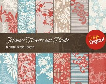 Digital Papers Flowers & Plants Japanese Patterns Vol. 9, 12pcs 300dpi Plant Digital Download Collage Sheets Plants Printable Paper