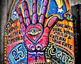 psychic fortune teller art photo, all seeing eye, colorful psychedelic hand eye star moon, funky art, mystic seer photograph
