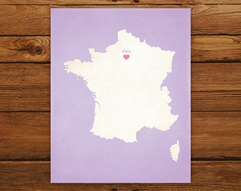 Customized France 8 x 10 Country Art Print, Country Map, Heart, Silhouette, Aged-Look Print