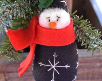 Christmas snowman - Snowman Ornament - Christmas Decor - Winter Decor