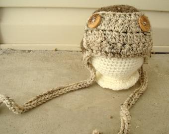 Crochet AVIATOR HAT / photography prop / newborn / ready to ship